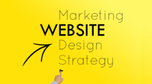 Marketing, Website, Design and Strategy graphic with finger pushing button